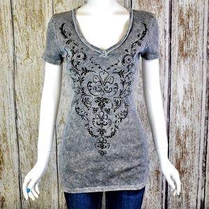 Vocal Gray Rhinestone Shirt Size XL